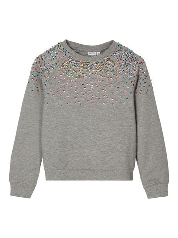 Name it Girls Sequin Embellished Grey Sweatshirt