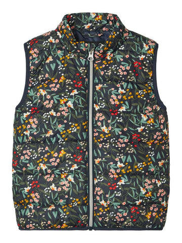 Name it Mini Girl Floral Padded Gilet Jacket