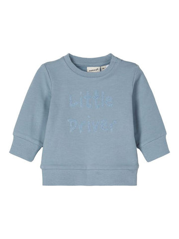Name it Baby Boy Little Driver Blue Sweatshirt