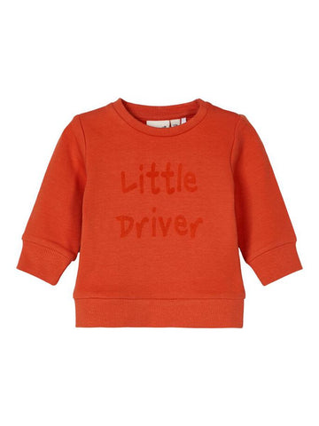 Name it Baby Boy Little Driver Orange Sweatshirt