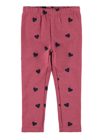 Name it Mini Girl Heart Print Sweat Leggings