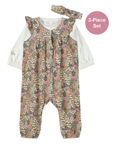 Name it Baby Girl 3-Piece Floral Romper Set