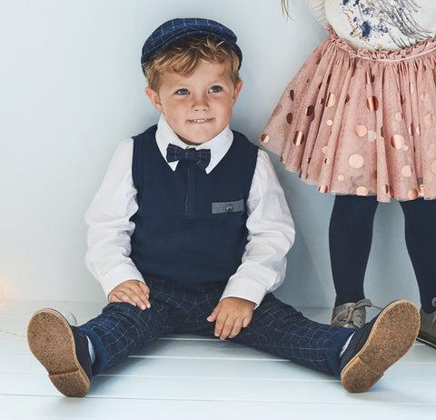 Name it Mini Boy Cotton Flat Cap in Navy & Grey MODEL