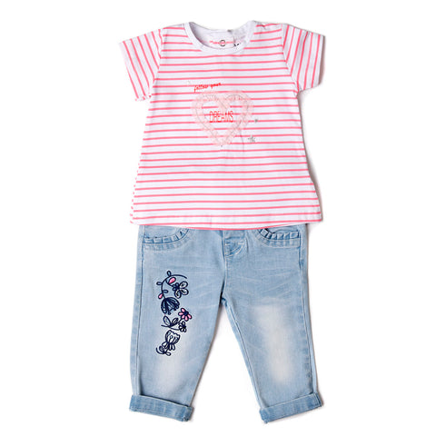 Baby Girl 2-Piece T-Shirt and Jeans Set