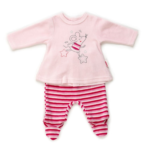 Babybol Baby Girl Velour 2-Piece Set Stripey Pink