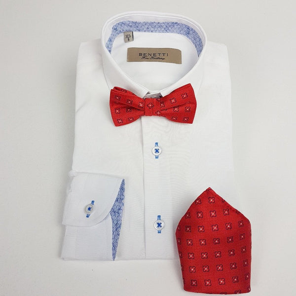 Dotty Red Bow Tie and Pocket Square