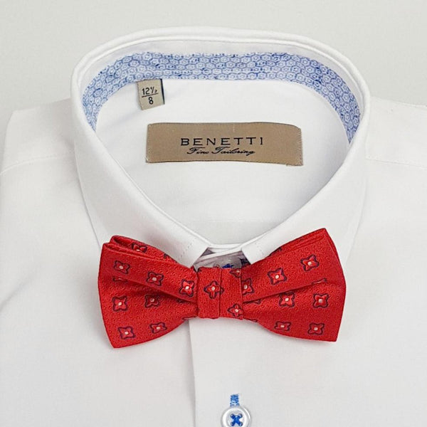 Zazzi Boys Red Pattern Bow Tie and Matching Pocket Square