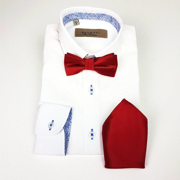Zazzi Boys Solid Bow Tie and Matching Pocket Square