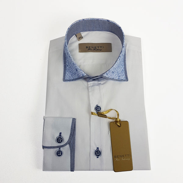 Benetti Boys White Shirt with Blue Contrast Collar