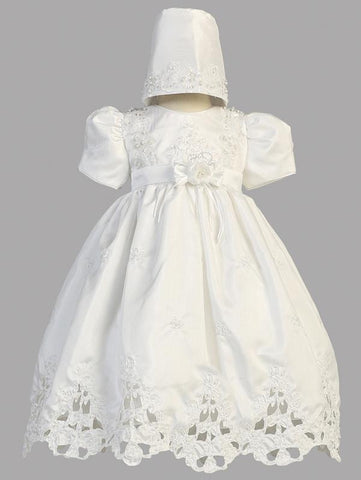 Girls Christening Dress With Matching Bonnet Beaded Embroidery