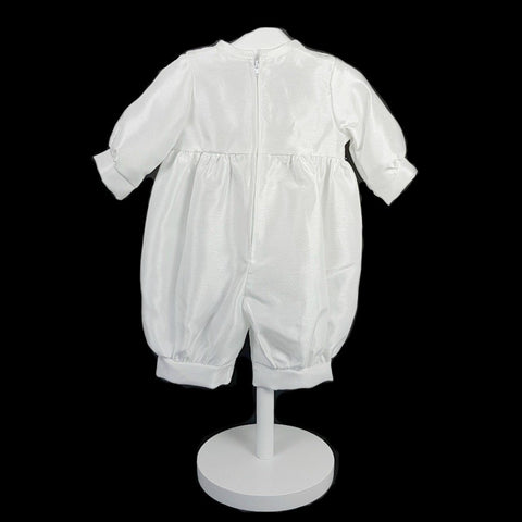 Boy's White Christening Romper Suit with Celtic Cross