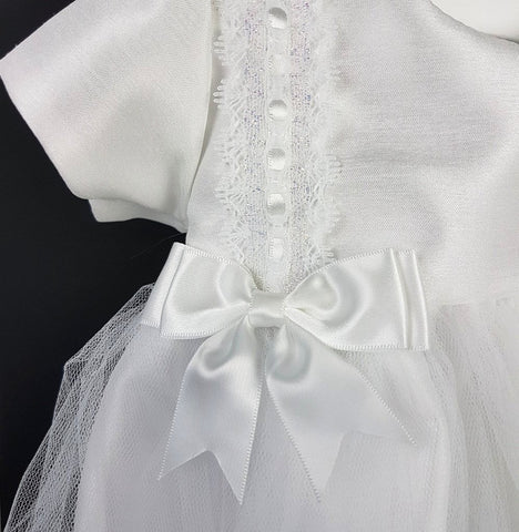 White Short Christening Dress with Bow Detail