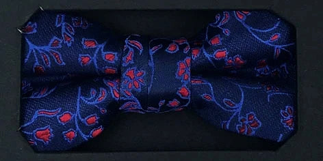Boys Communion Bow Tie & Pocket Square in Floral Navy