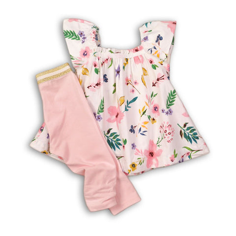 Minoti Baby Girl Top and Legging Set in Floral Print