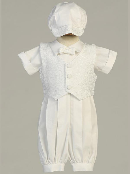 Boy's White Cotton Christening Romper With Waistcoat and Cap