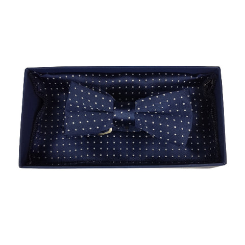 Boys Communion Bow Tie & Pocket Square in Navy Polka-Dot