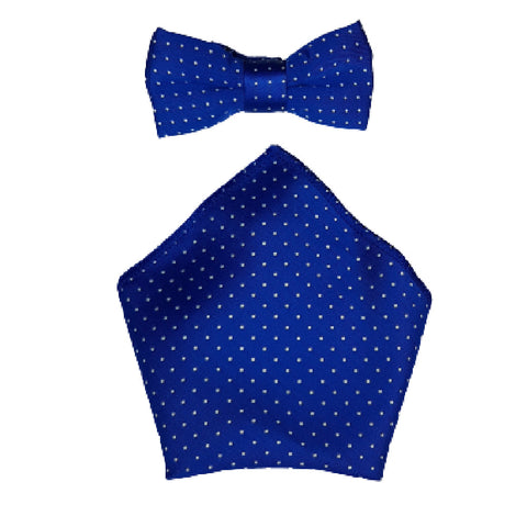 Boys Communion Bow Tie & Pocket Square in Royal Blue Polka-Dot