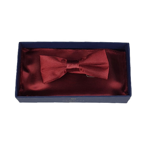 Boys Communion Bow Tie & Pocket Square in Wine Satin