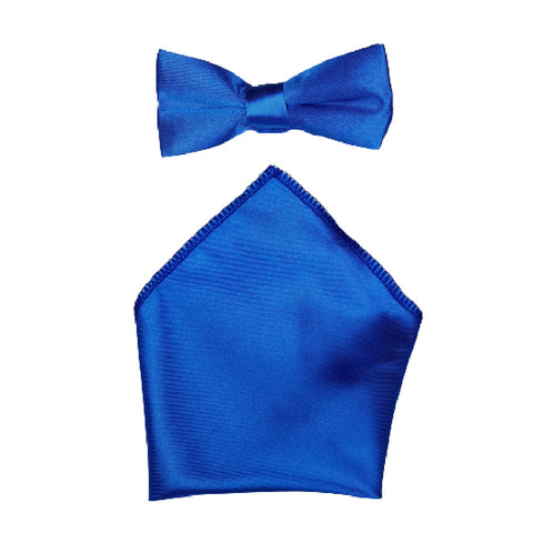 Boys Communion Bow Tie & Pocket Square in Blue Satin