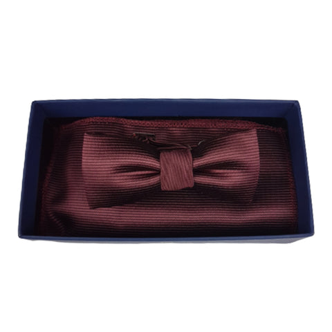 Boys Communion Bow Tie & Pocket Square in Wine Ribbed