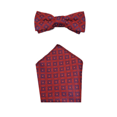 Boys Communion Bow Tie & Pocket Square in Red Design
