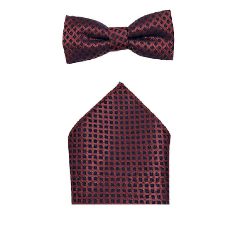 Boys Communion Bow Tie & Pocket Square in Pink & Navy Design