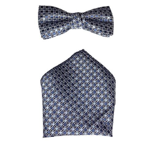Boys Communion Bow Tie & Pocket Square in Floral Blue