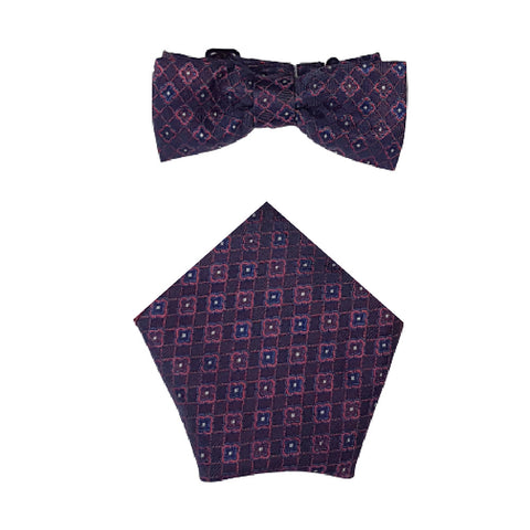 Boys Communion Bow Tie & Pocket Square in Navy Design
