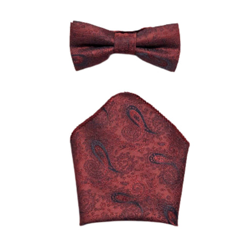 Boys Communion Bow Tie & Pocket Square in Wine Design