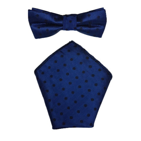 Boys Communion Bow Tie & Pocket Square in Dotty Blue
