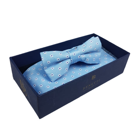 Boys Communion Bow Tie & Pocket Square in Pale Blue Polka-Dot