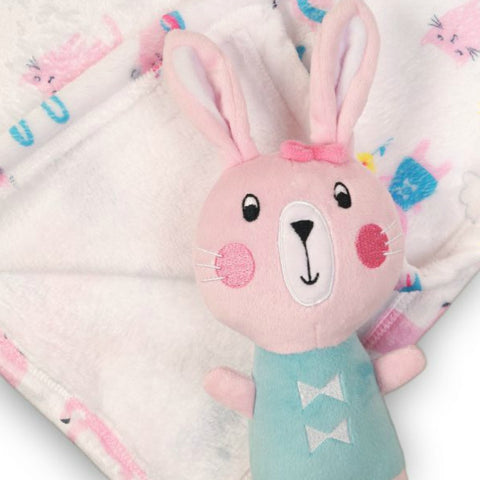 Minoti Baby Girl Fleece Blanket and Bunny Toy Gift Set