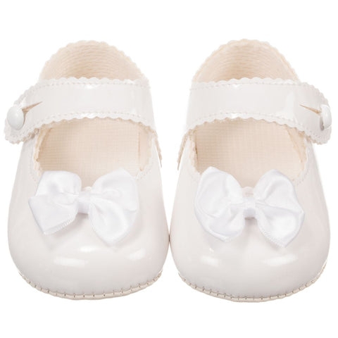 Baypods Baby Girl White Christening Shoe with Bow