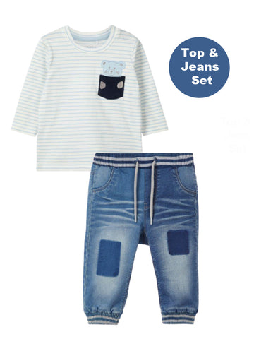 Name it Baby Boy Stripy Teddy and Jeans Set