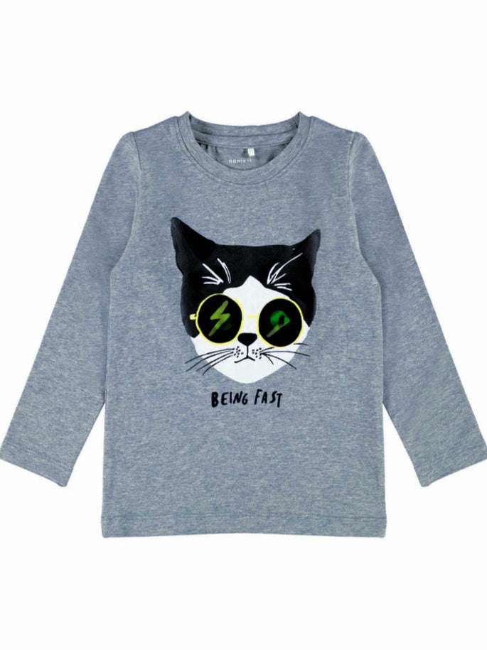 Name it Mini Boy Funky Cat Print Long Sleeve Top