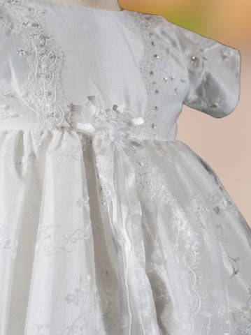 Sweetie Pie Christening Gown with Floral Lace