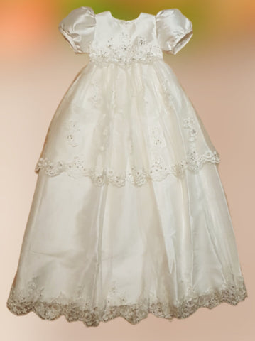Sweetie Pie Silk Christening Gown with Embroidered Tulle