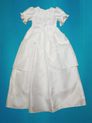 Sweetie Pie White Shantung  Christening Gown with Matching Bonnet