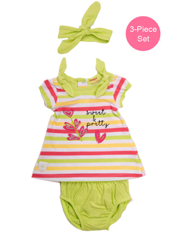 Baby Girl 3-Piece Stripy Dress Set