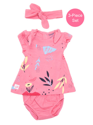 BabyBol Baby Girl 3-Piece Pink Dress Set