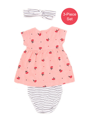 Baby Girl 3-Piece Pink Floral Print Dress Set