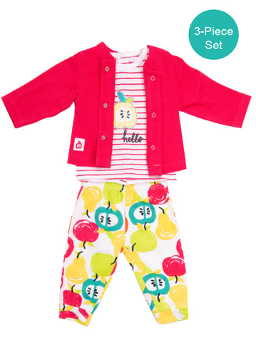 Baby Girl 3-Piece Colourful Apple Print Set