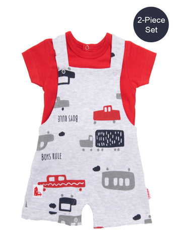Baby Boy 2-Piece Cars Dungaree Set