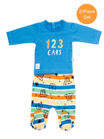 Baby Boy 2-Piece Blue Romper Set