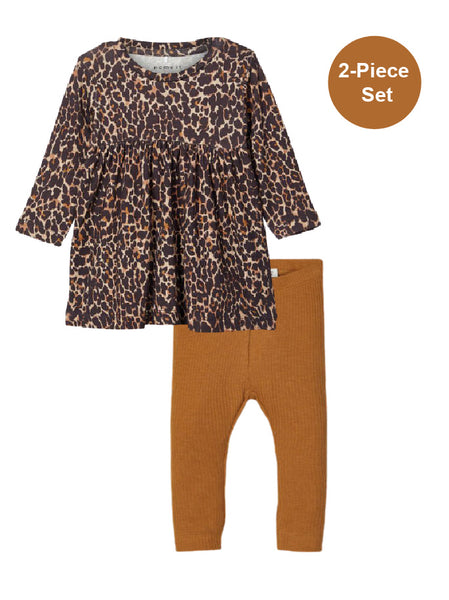 Name it Baby Girl 2-Piece Leopard Print Dress and Legging Set