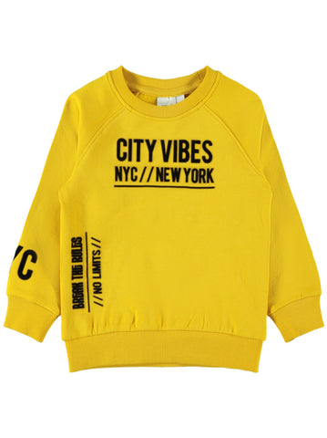 Name it Mini Boy City Vibes Crew Neck Yellow Sweatshirt