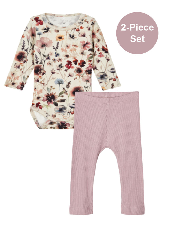 Name it Baby Girl 2-Piece Floral Top and Legging Set