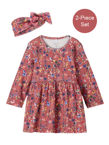 Name it Baby Girl 2-Piece Floral Dress & Hairband Set
