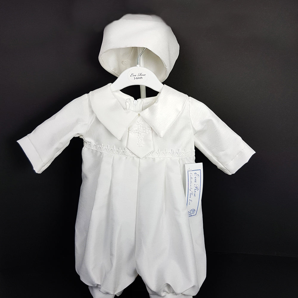 Baby Boy White Christening Romper Suit