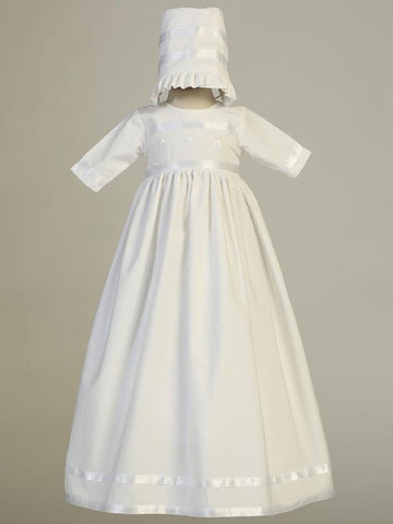 Christening gown with shamrock embroidery